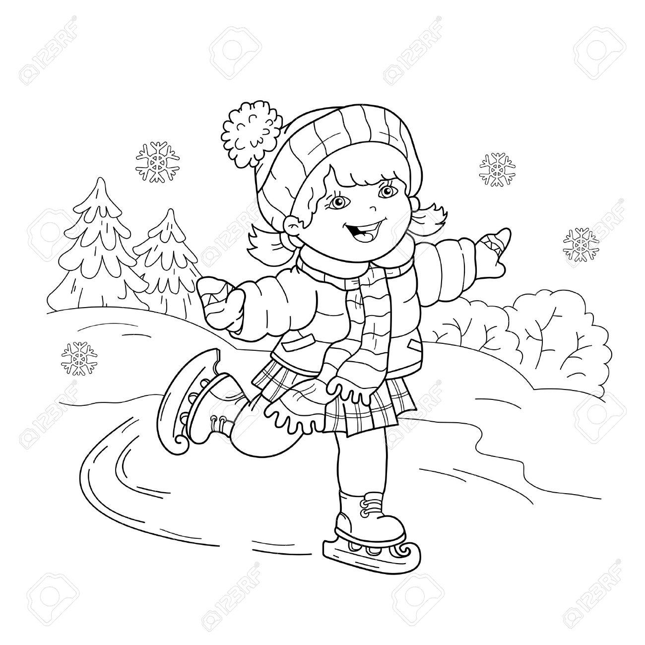 ぬりえページ概要の漫画少女スケートします冬のスポーツ子供のための