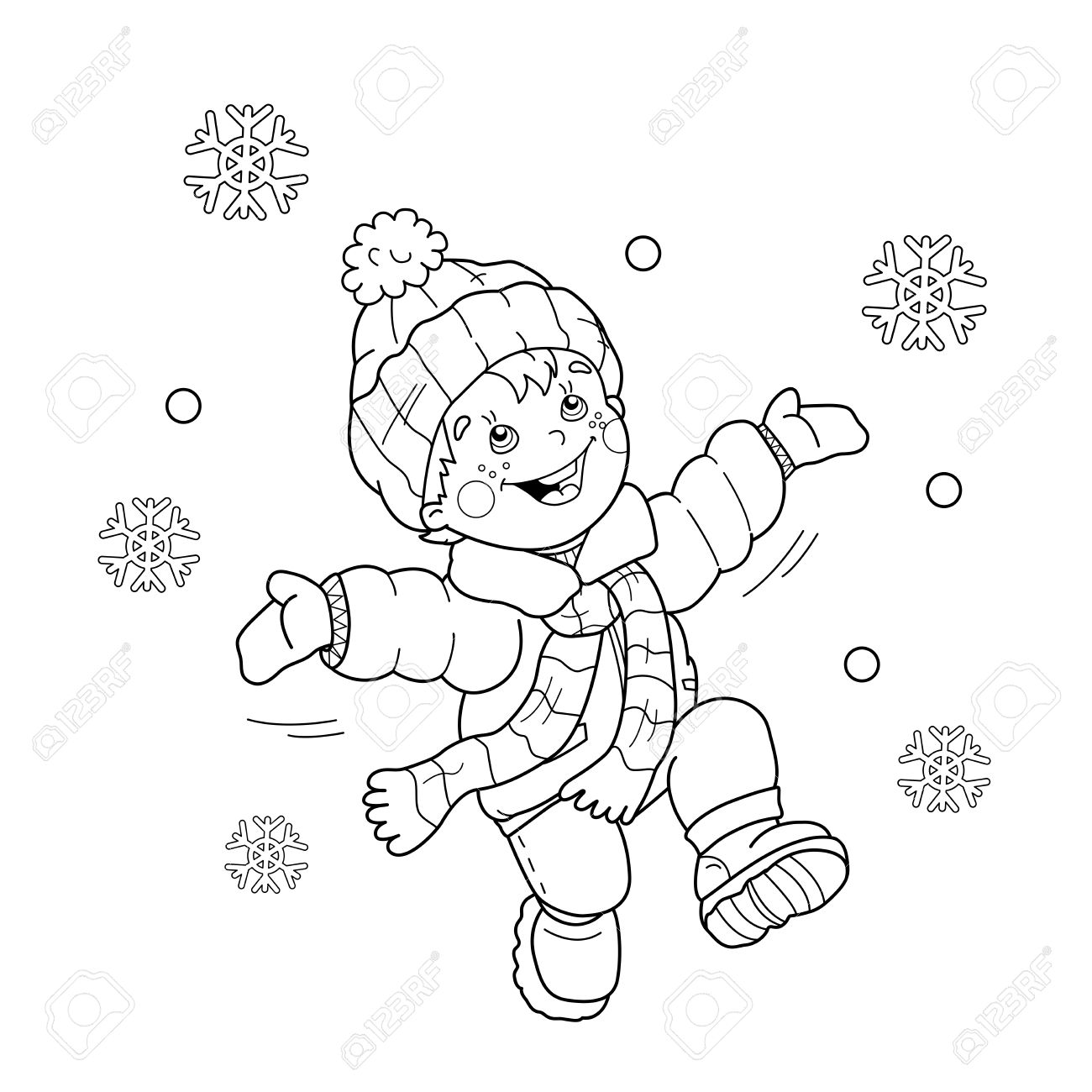 Página Para Colorear Esquema Del Niño De Dibujos Animados Saltando De Alegría Primera Nevada Invierno Libro De Colorear Para Niños