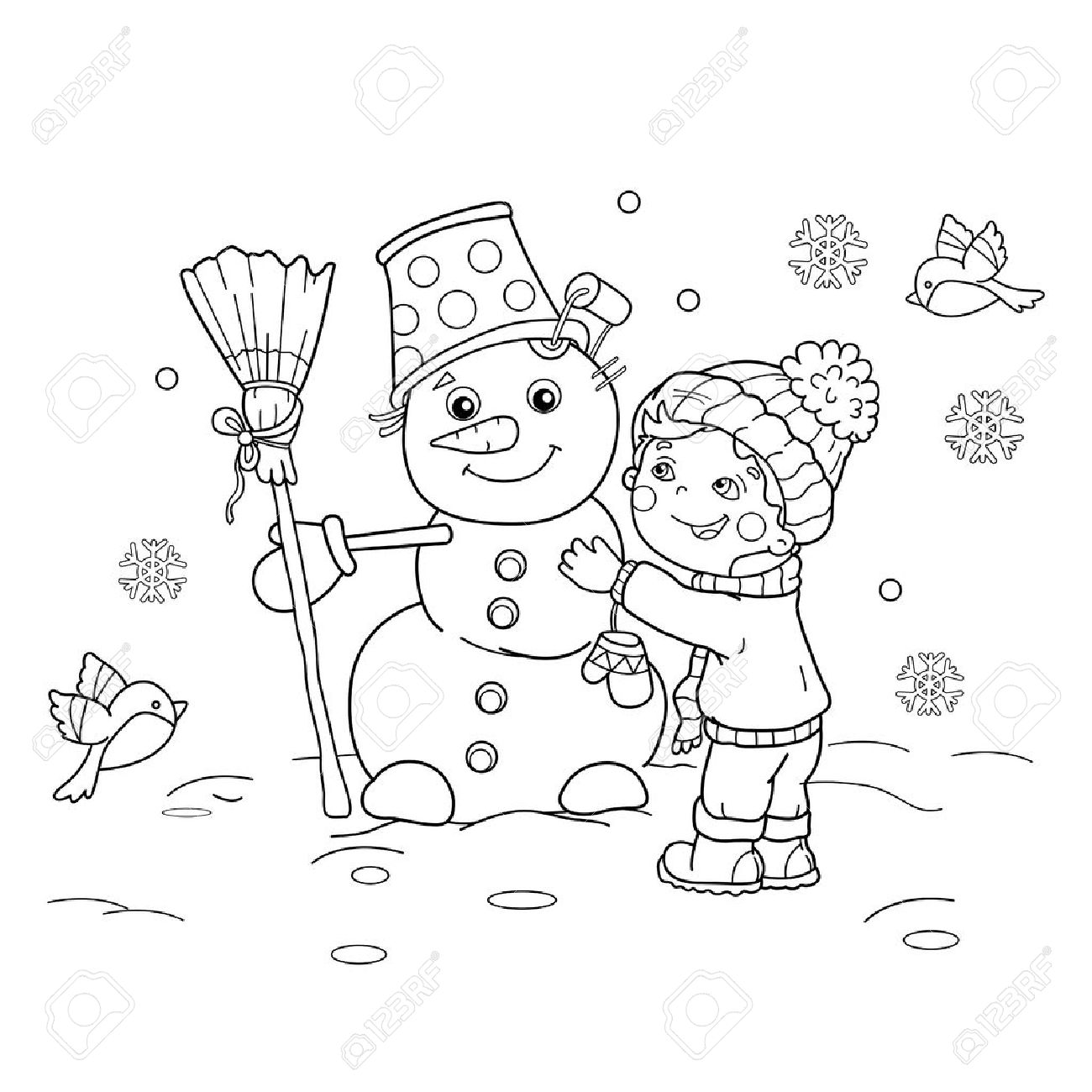 Coloring Page Outline Of Cartoon Boy With Snowman. Winter. Coloring ...