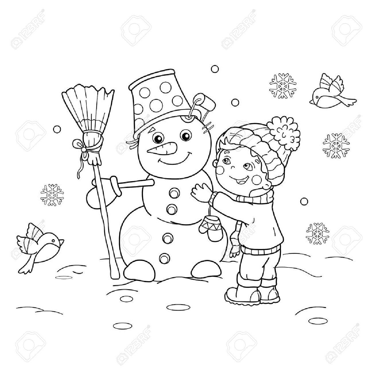 Página Para Colorear Esquema Del Niño De Dibujos Animados Con El Muñeco De Nieve Invierno Libro De Colorear Para Niños