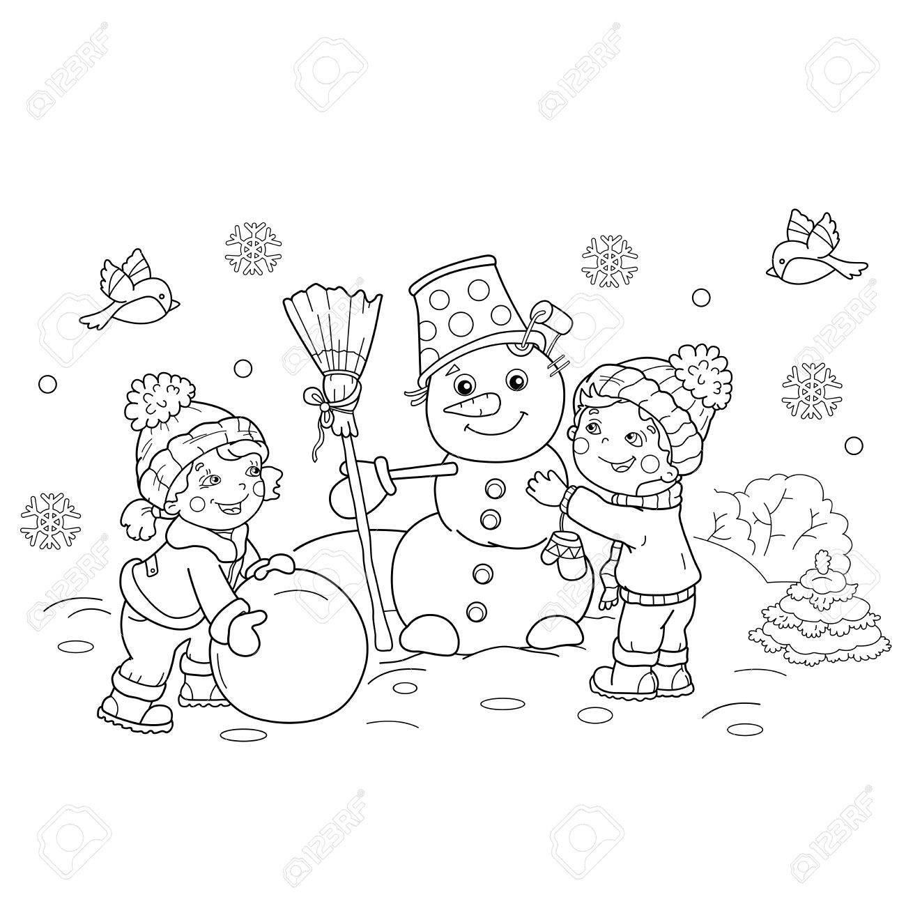 Página Para Colorear Esquema Del Niño De Dibujos Animados Con La Chica Haciendo Nieve Juntos Invierno Libro De Colorear Para Niños