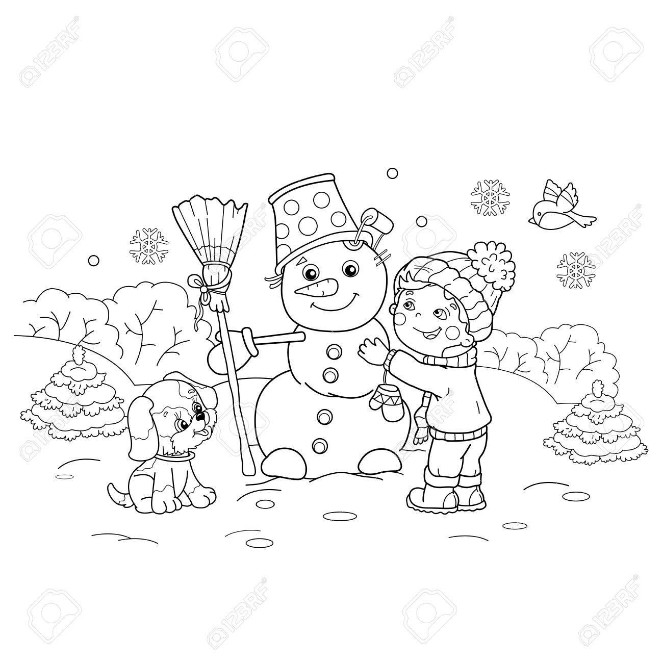 ぬりえページ概要の漫画少年犬と雪だるまを作るします冬子供のための