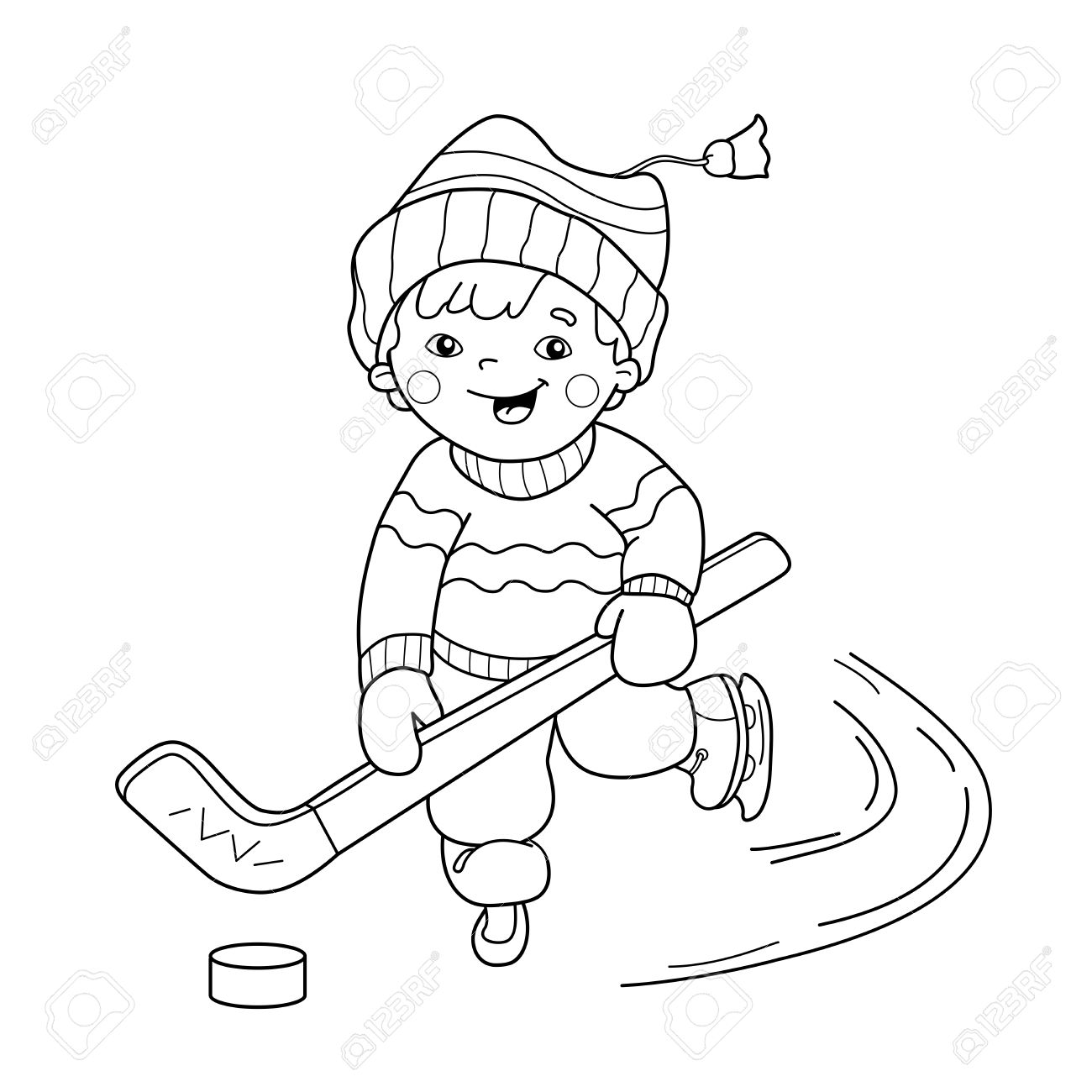 coloring page outline of cartoon boy playing hockey winter sports