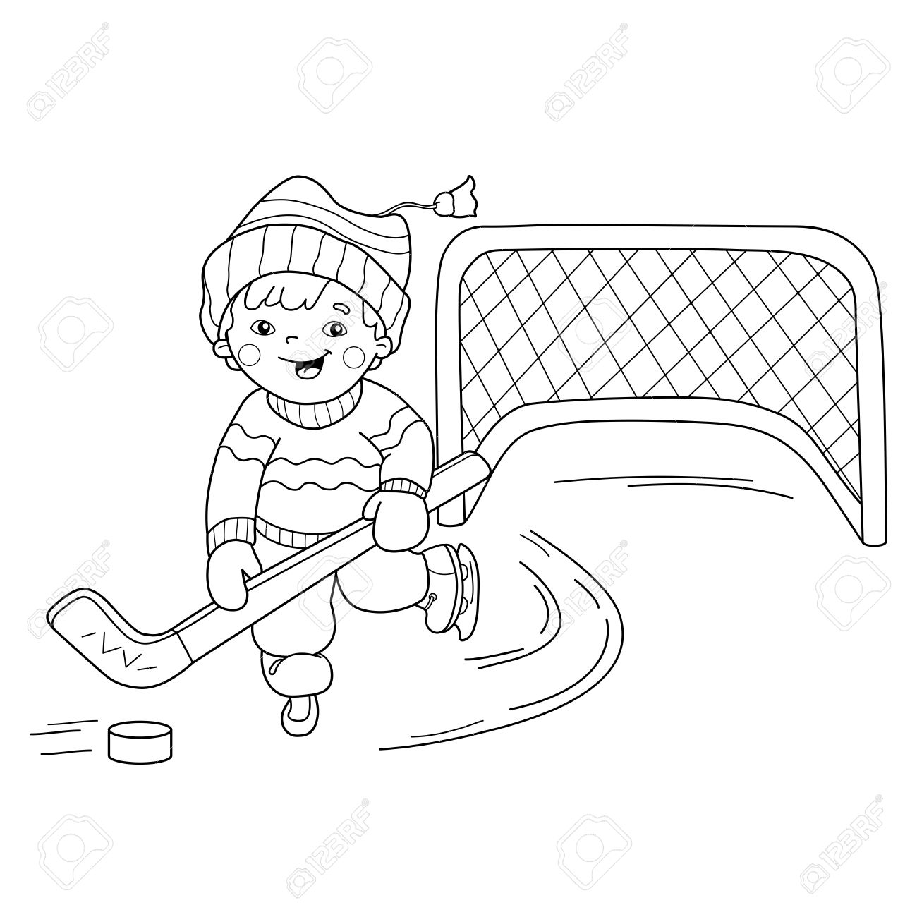 coloring page outline of cartoon boy playing hockey winter sports coloring book for kids - Sports Coloring Book