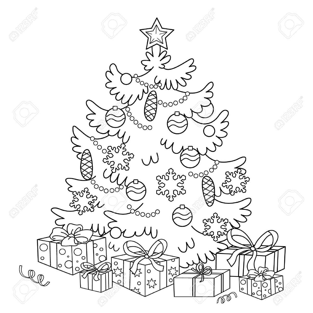 ページ概要の漫画クリスマス ツリー装飾品とギフトのぬりえクリスマス