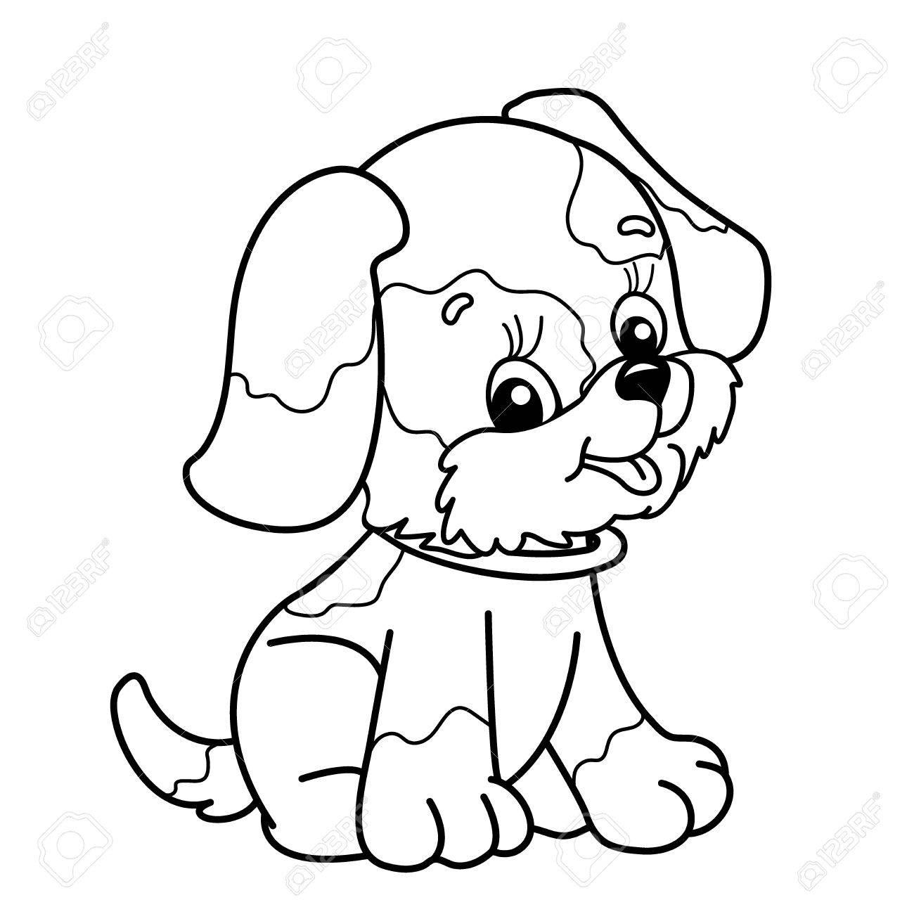 Esquema De Página Para Colorear De Perro De Dibujos Animados Lindo Cachorro Sentado Mascota Libro De Colorear Para Niños