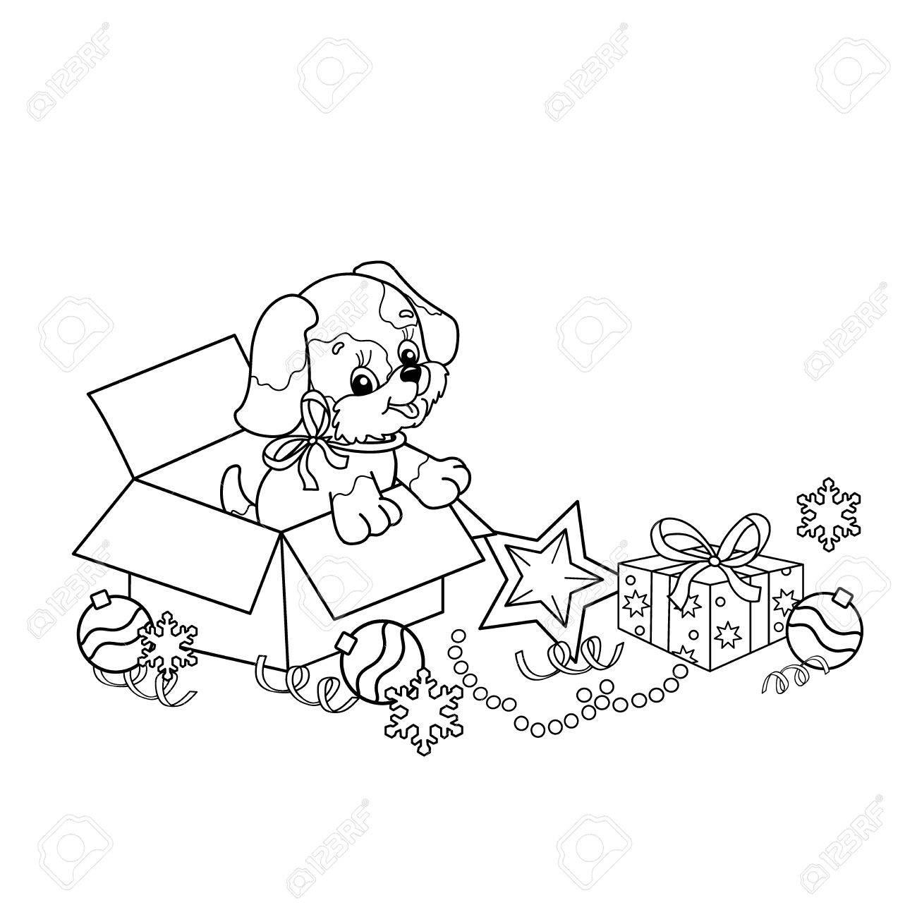 Esquema De La Página De Colorear Del Cachorro De Dibujos Animados ...