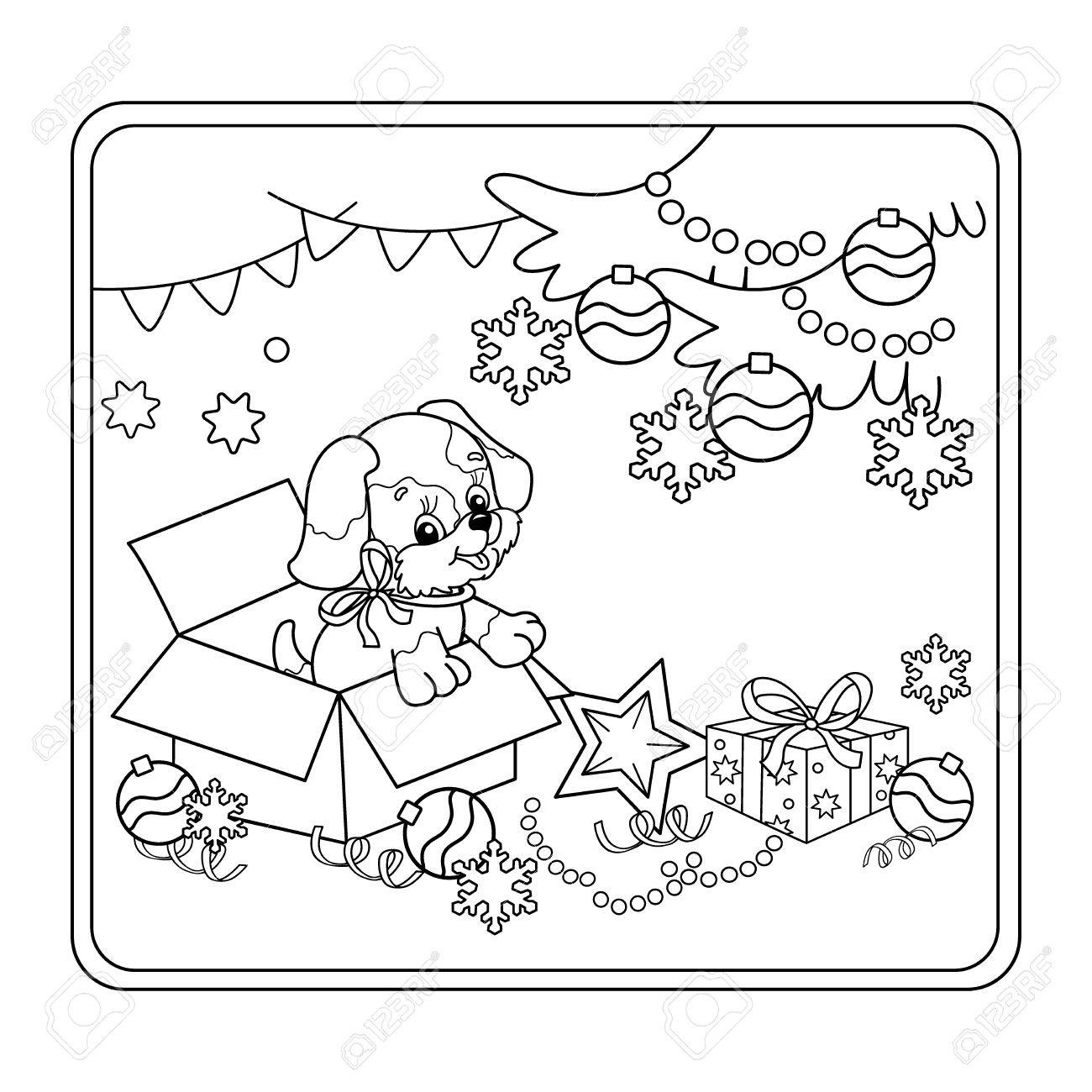 Coloring Page Outline Of Christmas Tree With Ornaments And Gifts ...