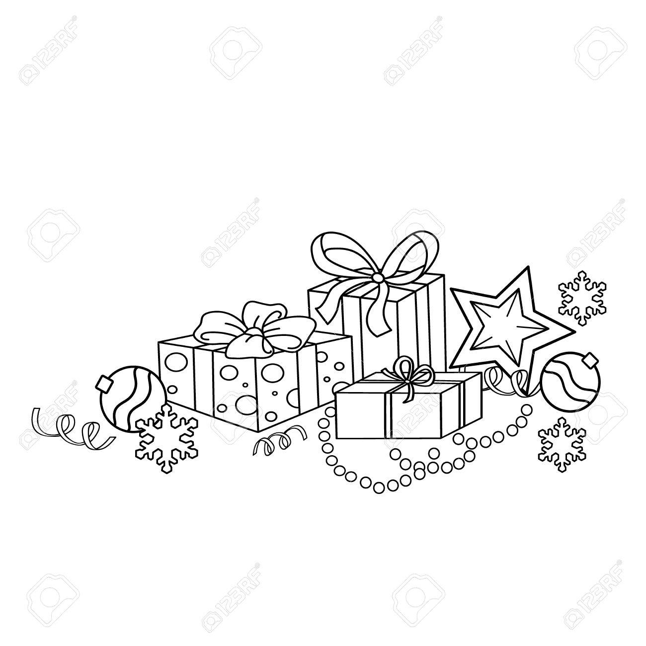 Coloring Page Outline Of Cartoon Christmas Ornaments And Gifts ...