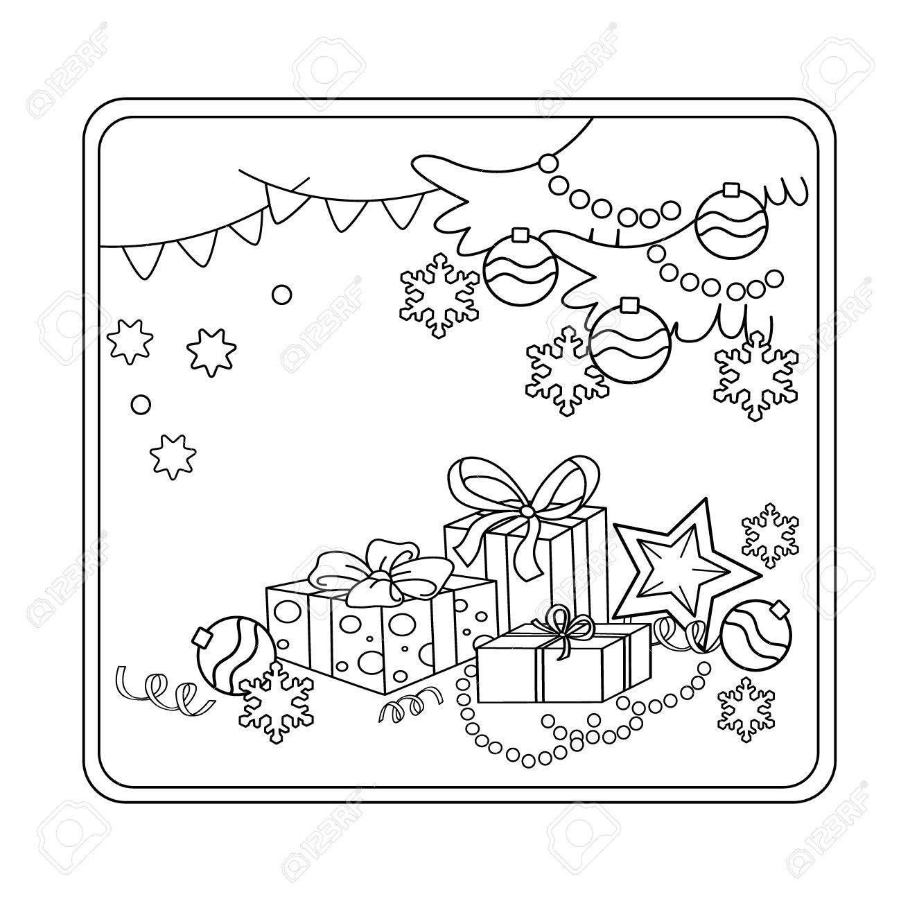 Página Para Colorear Esquema De Dibujos Animados Adornos De Navidad Y Regalos Navidad Año Nuevo Libro De Colorear Para Niños