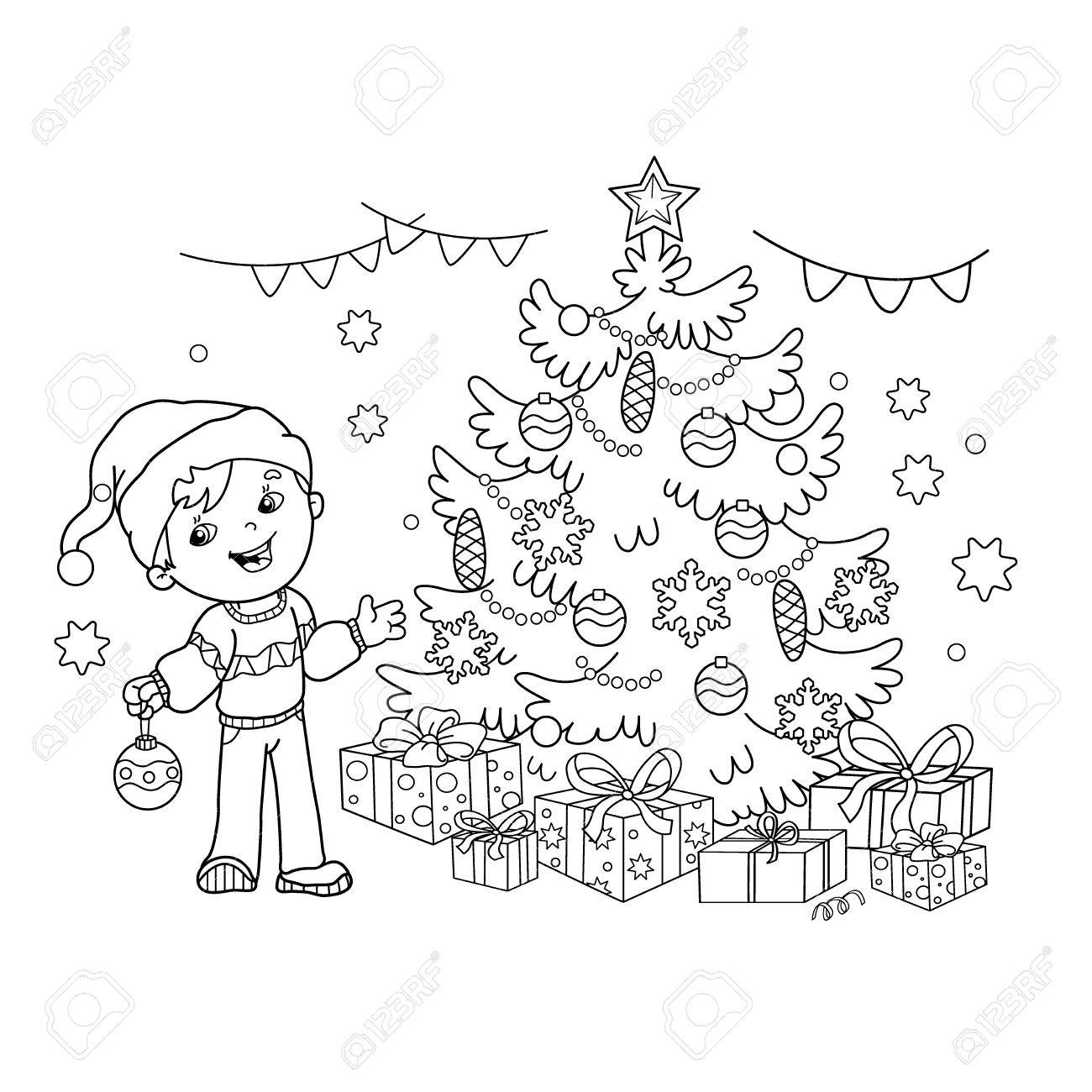 Página Para Colorear Esquema De Dibujos Animados Niños Decorar El árbol De Navidad Navidad Año Nuevo Libro De Colorear Para Niños