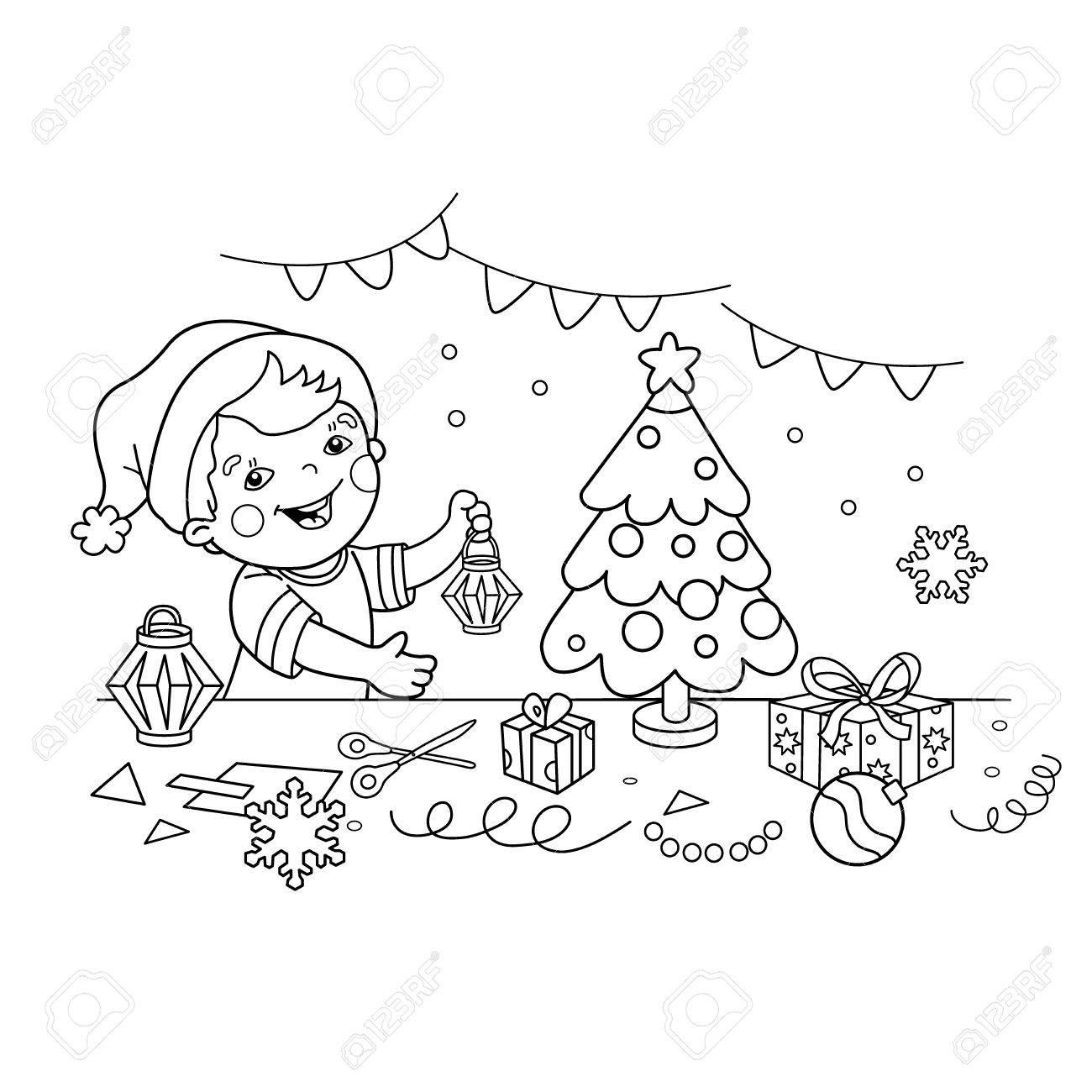 ぬりえページ概要の漫画少年クリスマス紙提灯を作るしますクリスマス