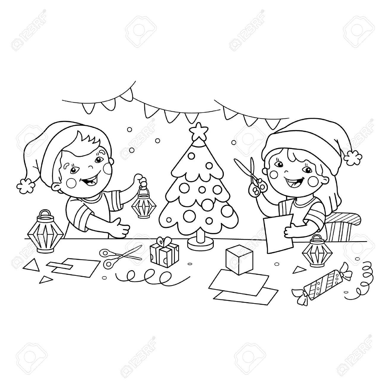 Coloring Page Outline Of children make paper Christmas lanterns...