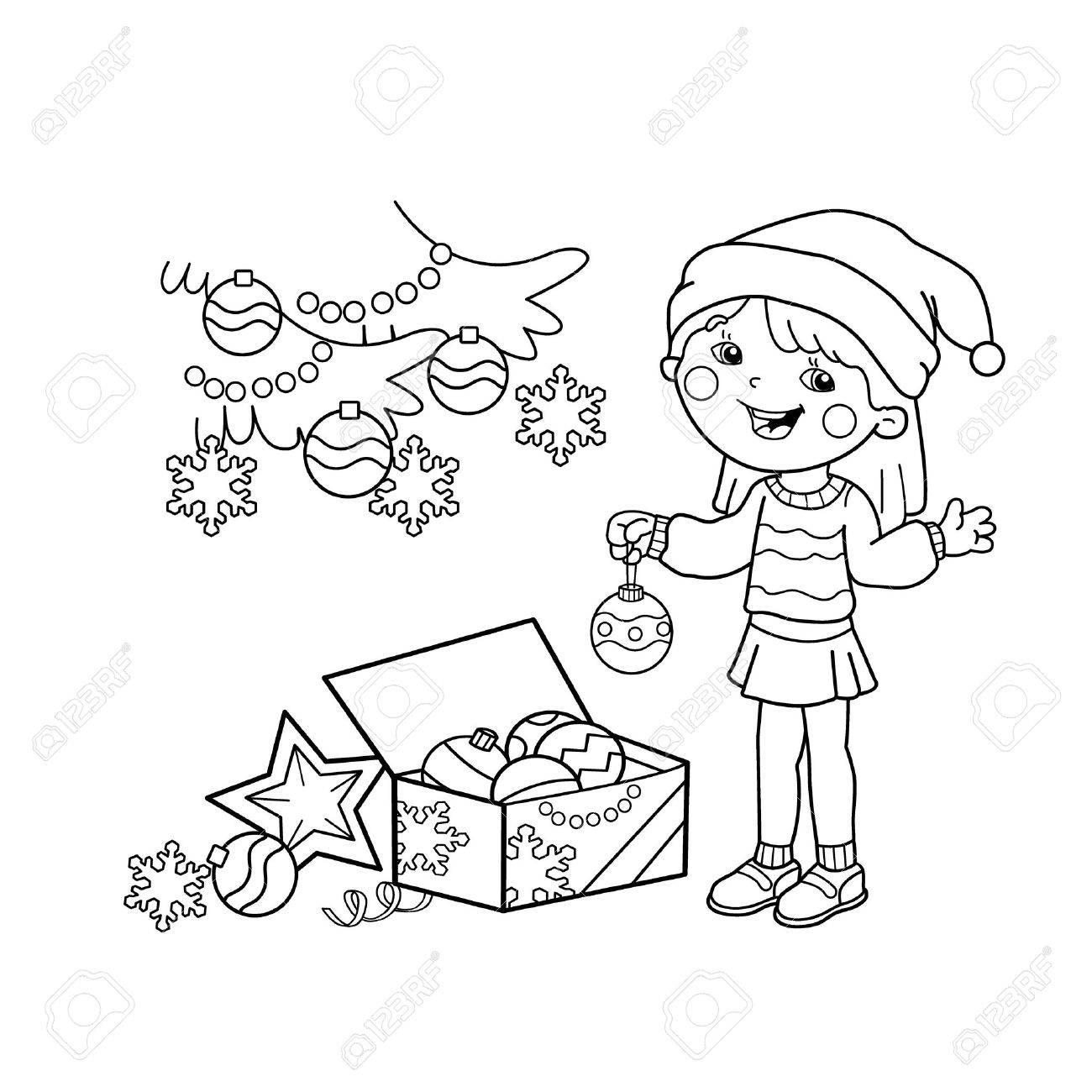 Página Para Colorear Esquema De Dibujos Animados Chica Decorar El árbol De Navidad Con Adornos Y Regalos Navidad Año Nuevo Libro De Colorear