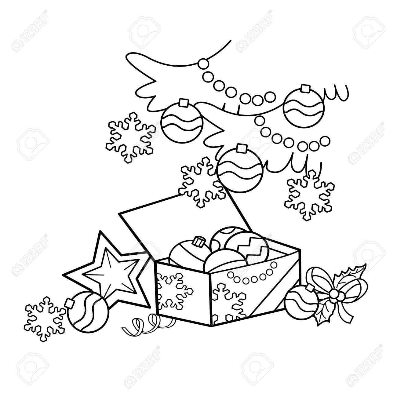 Página Para Colorear Esquema De La Decoración De Navidad De Dibujos Animados Navidad Año Nuevo Libro De Colorear Para Niños