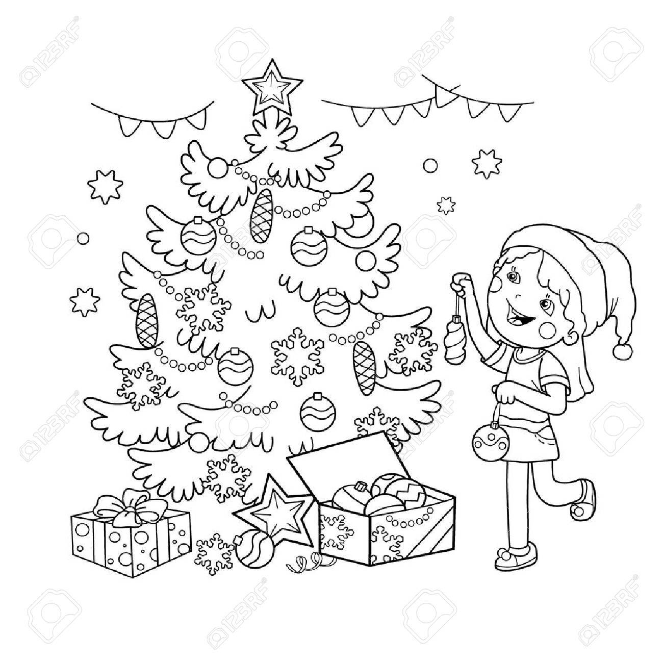 Coloring Page Outline Of Cartoon Girl Decorating The Christmas