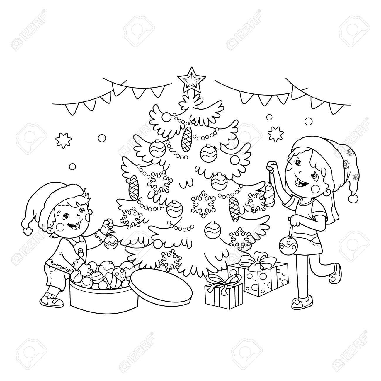 Página Para Colorear Esquema De Los Niños Decorar El árbol De Navidad Con Adornos Y Regalos Navidad Año Nuevo Libro De Colorear Para Niños