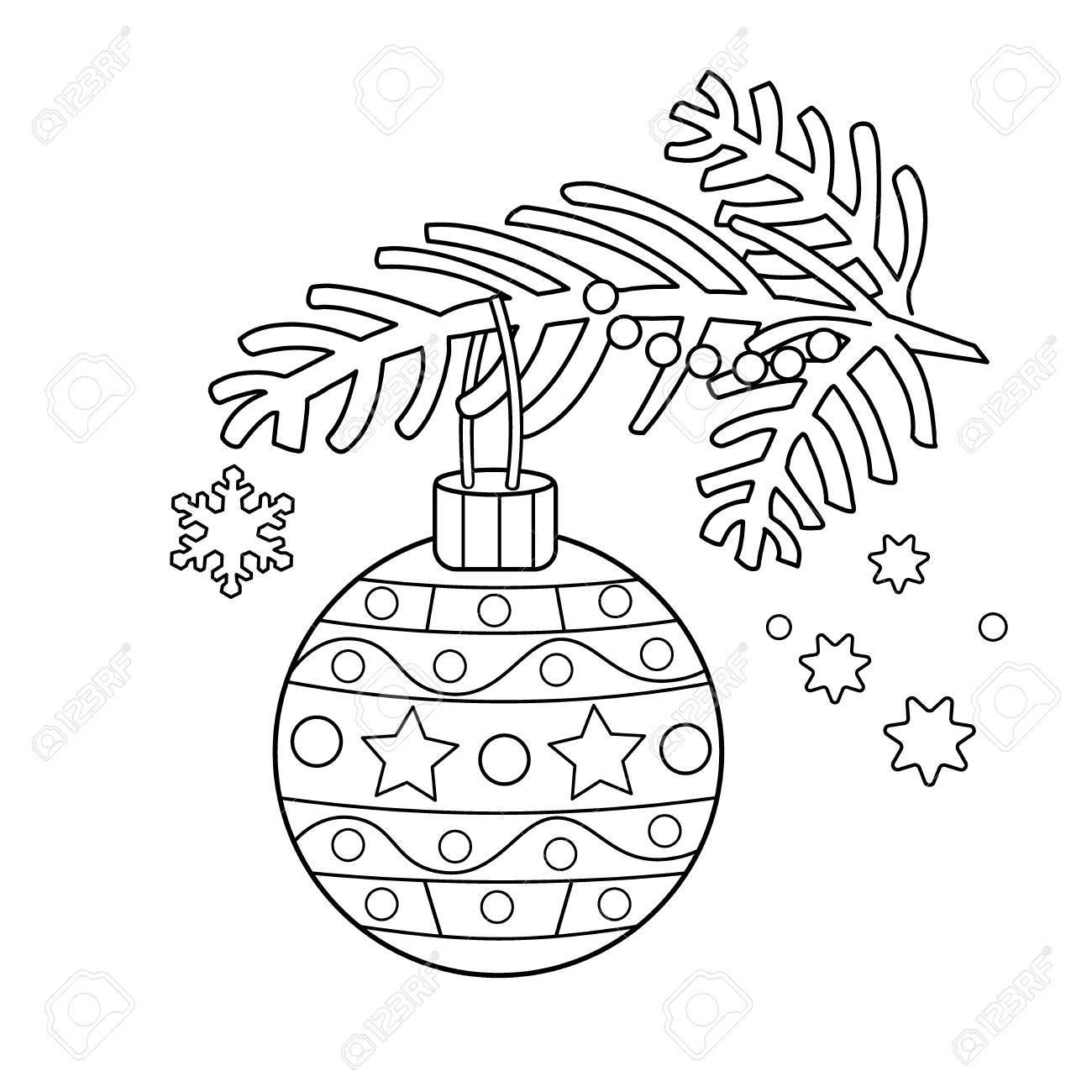 Malvorlage Der Weihnachtsdekoration. Weihnachtsbaum Zweig. Neujahr ...