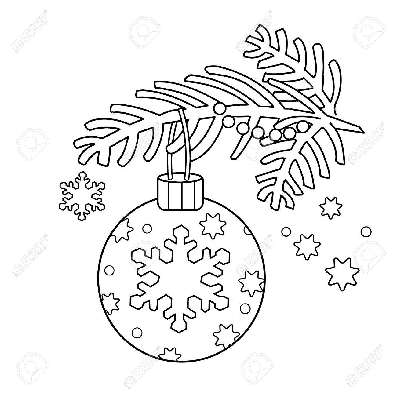 Coloring Page Outline Of Christmas Decoration. Christmas Tree ...