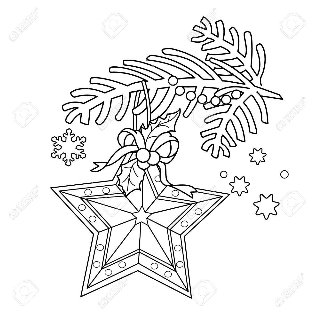 ぬりえページ概要のクリスマス装飾つ星クリスマスの木の枝新しい年