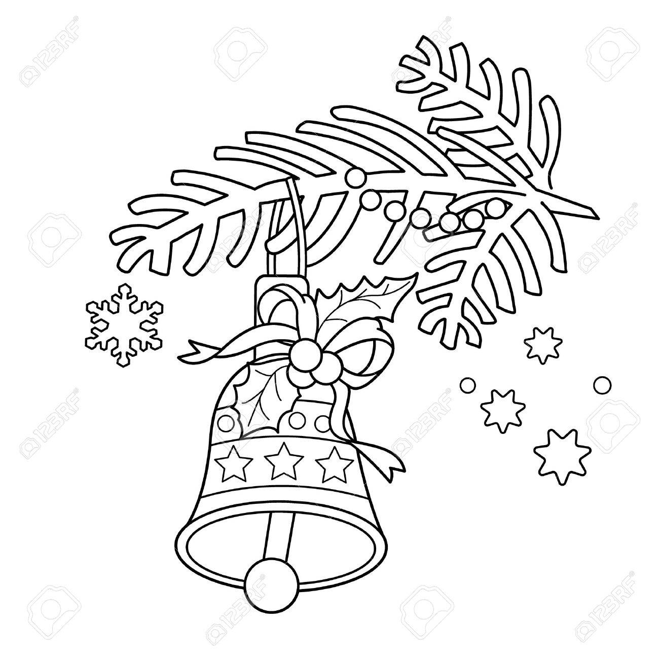 Coloring Page Outline Of Christmas Bell. Christmas Tree Branch ...