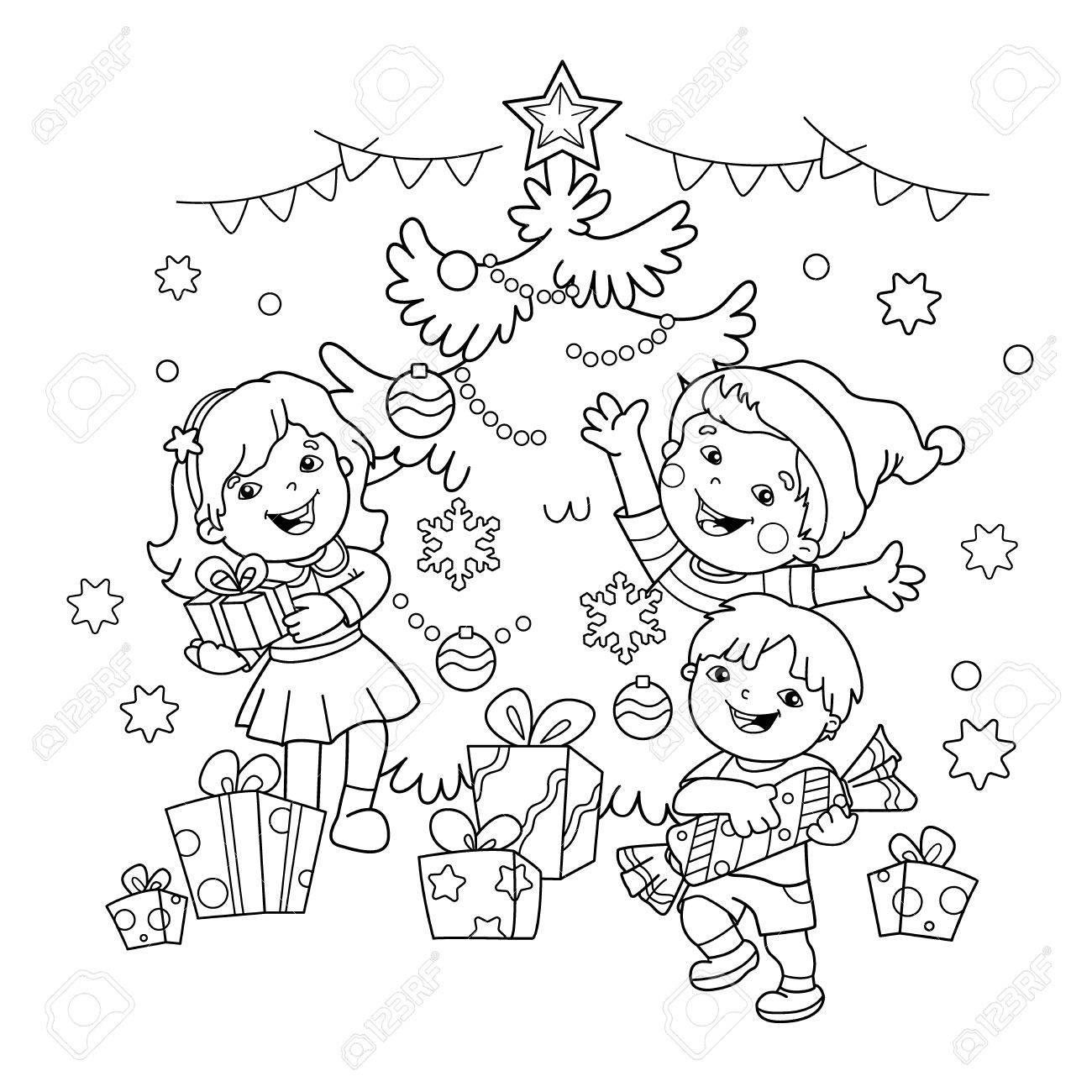 クリスマス ツリーの贈り物ページ概要の子供のぬりえクリスマス