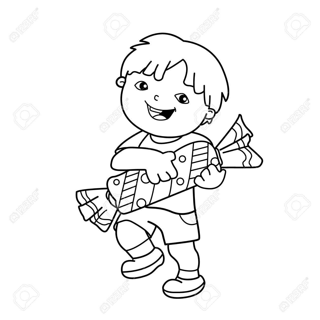 Färbung Seite Umriss Der Karikatur Junge Mit Mit Süßigkeiten ...