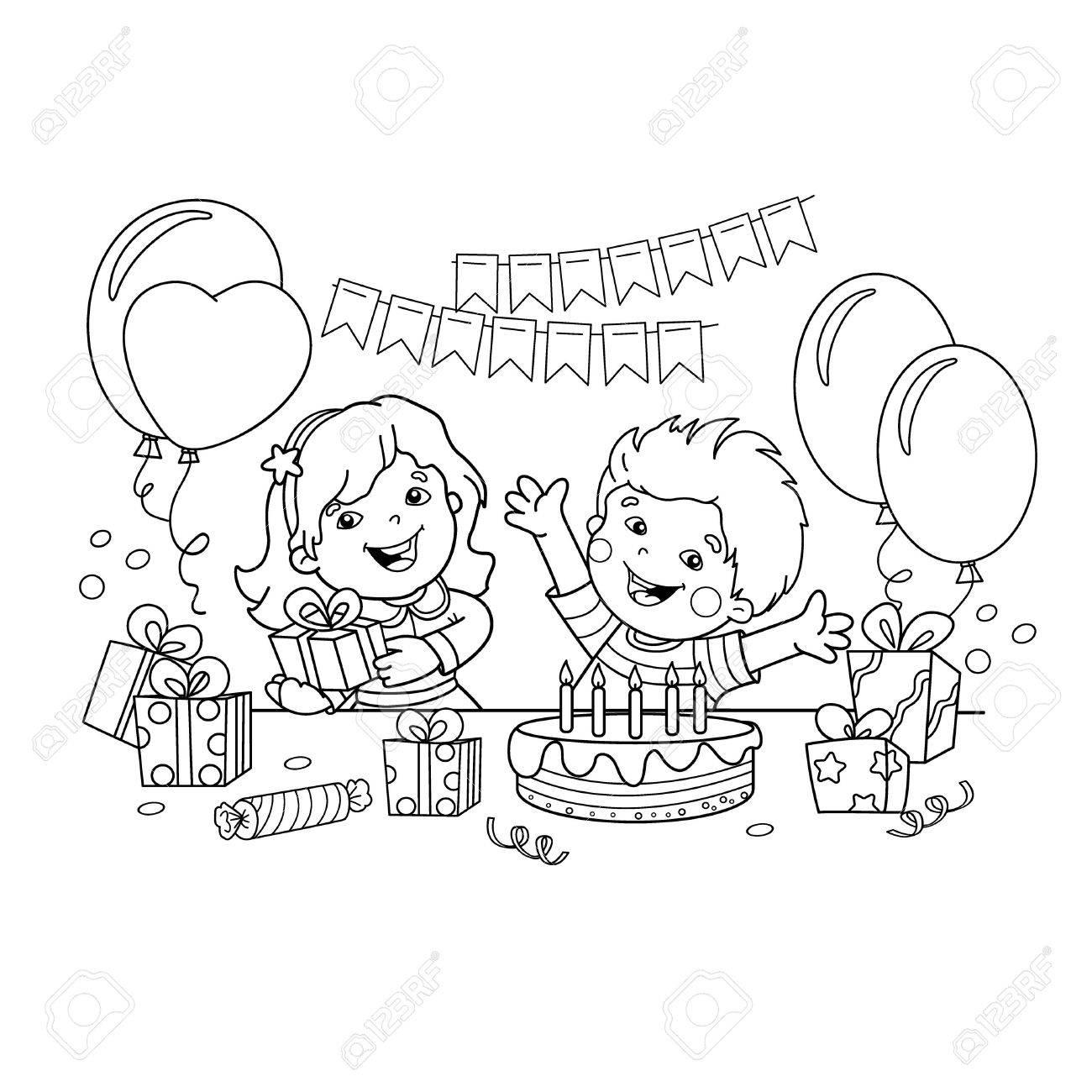 休日ギフトの子どもページのアウトラインの色誕生日子供のための
