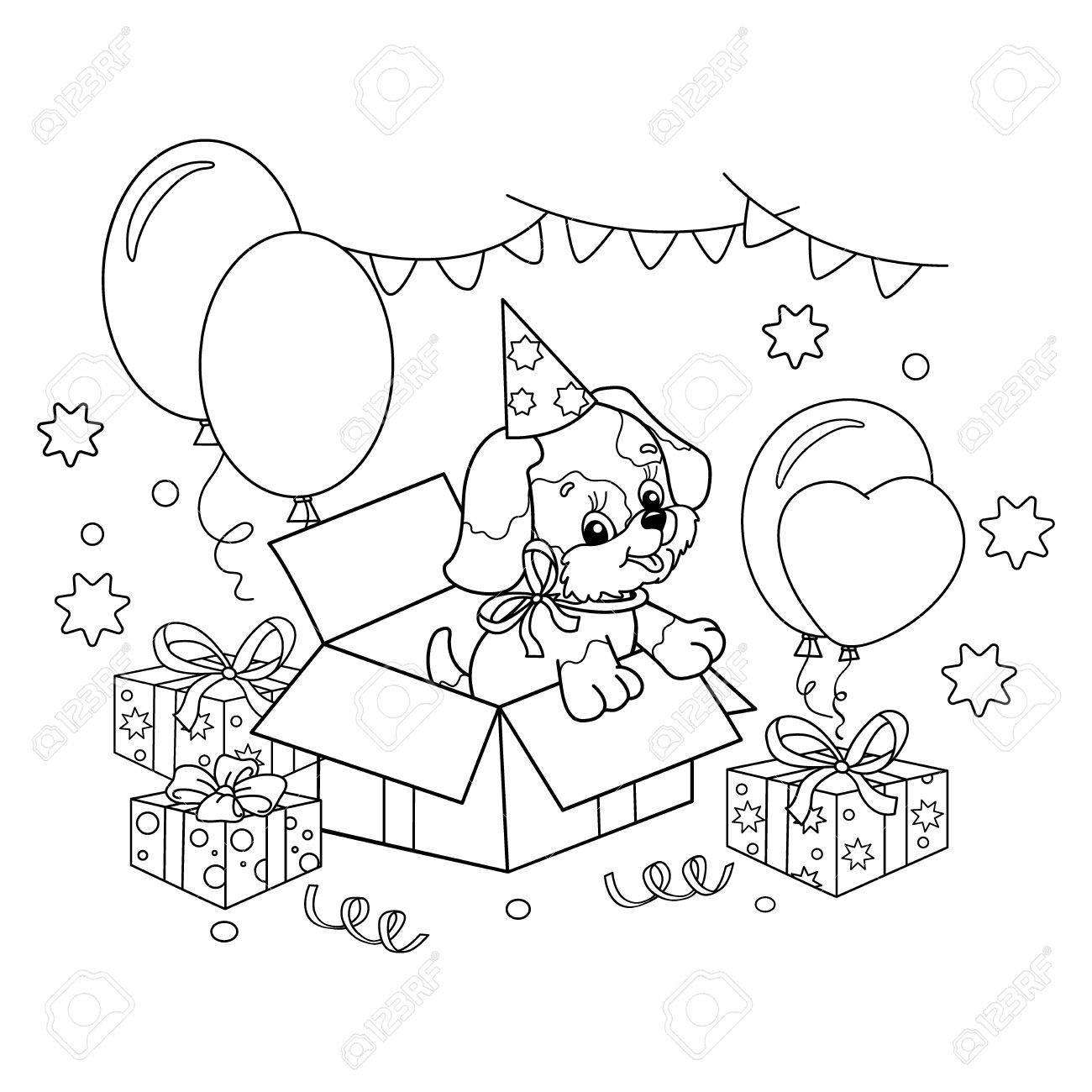 coloring page outline of cute puppy cartoon dog with bow gift for the holiday