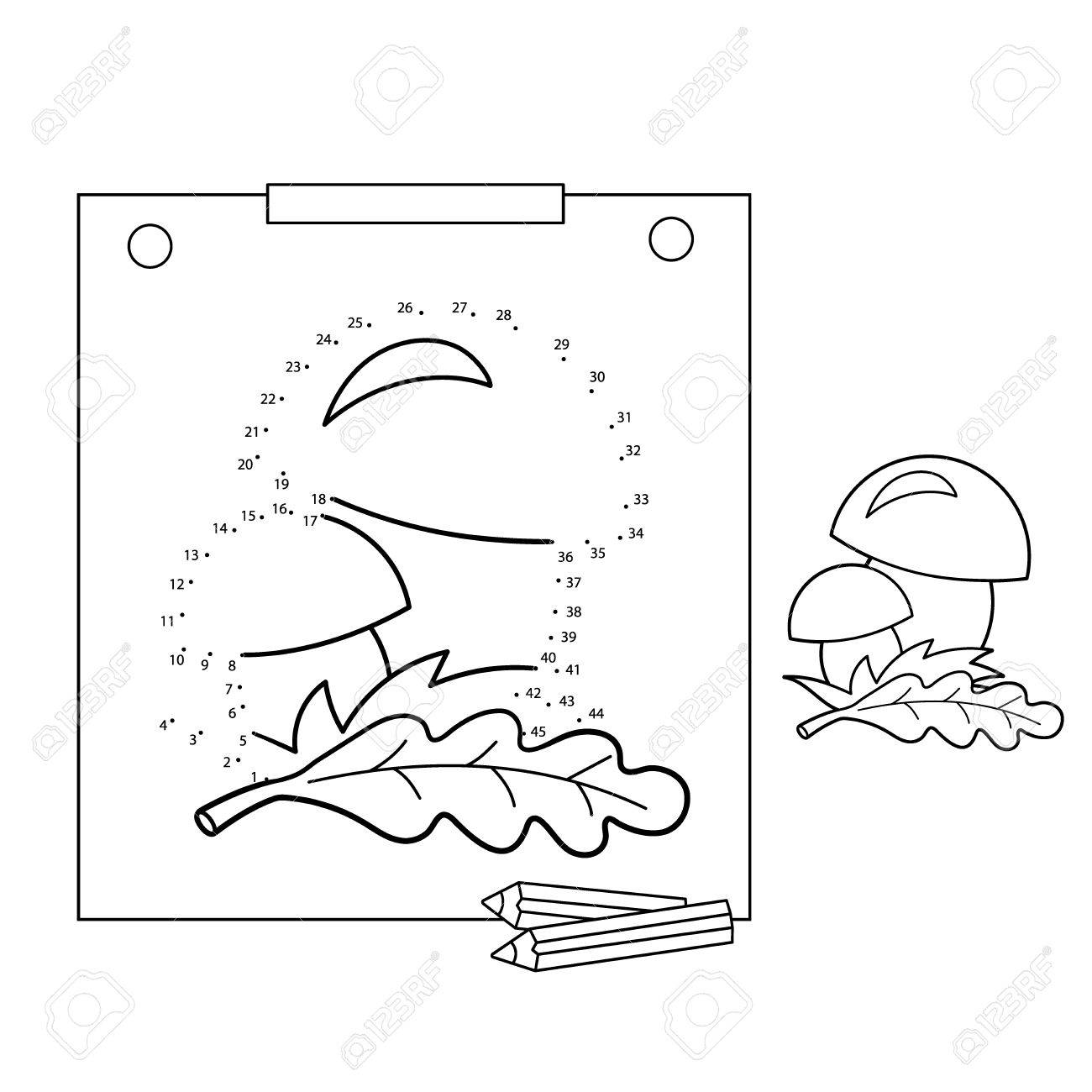 Educational games for kids: numbers game. Mushrooms. Coloring..
