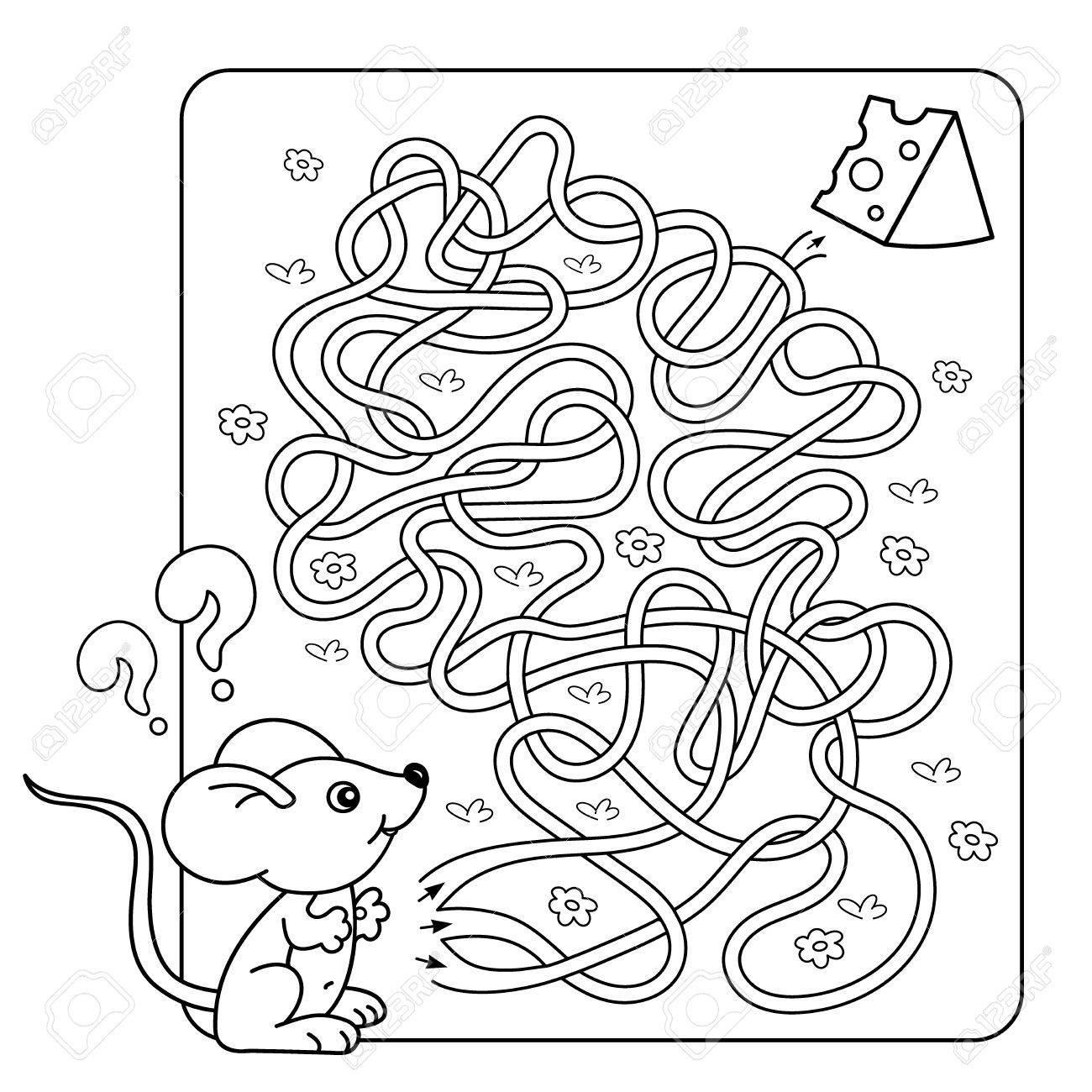 幼児の教育迷路や迷宮ゲームの漫画ベクトルの例パズルもつれた道