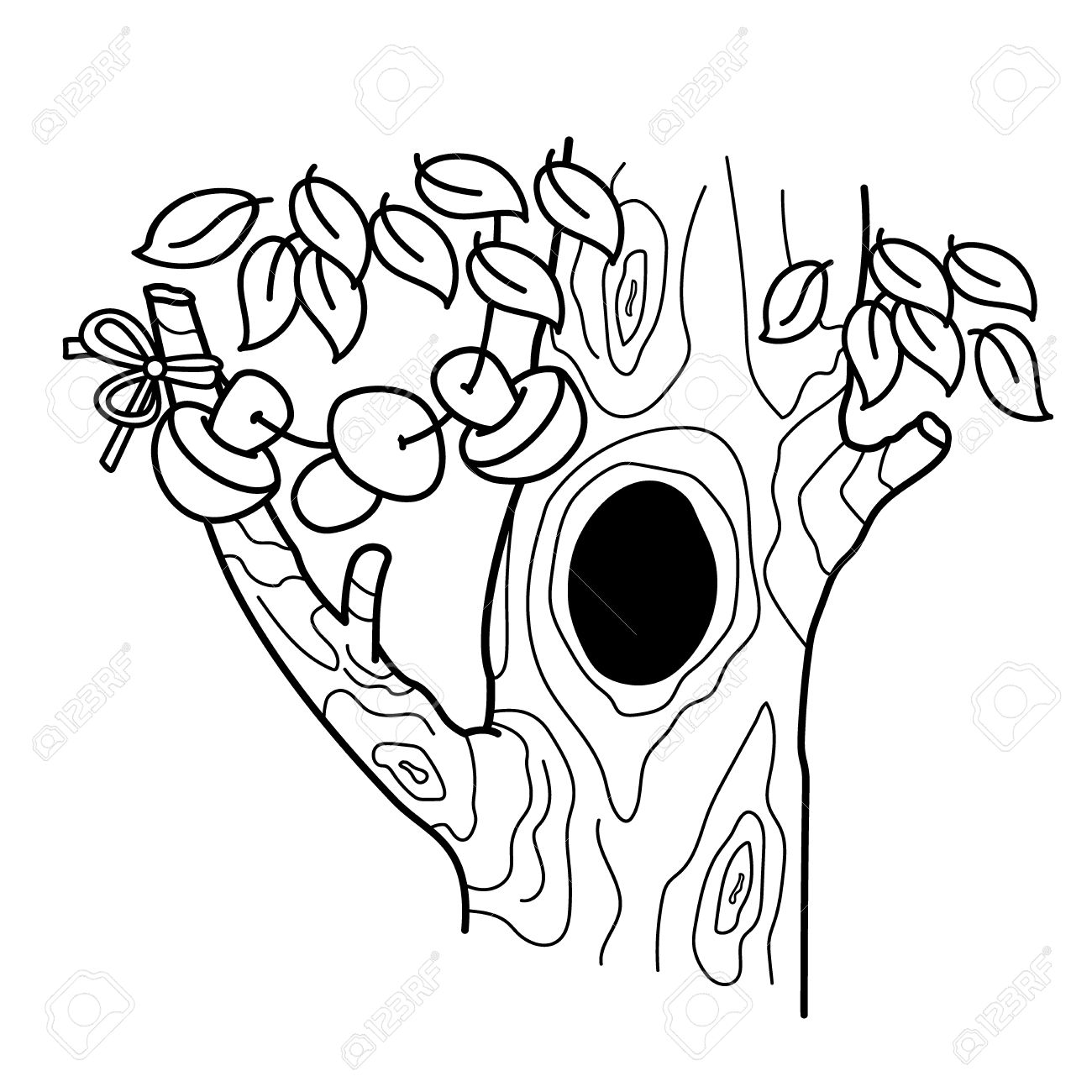 Coloring Page Outline Of Cartoon Tree With A Hollow Home Or Dwelling For Squirrels