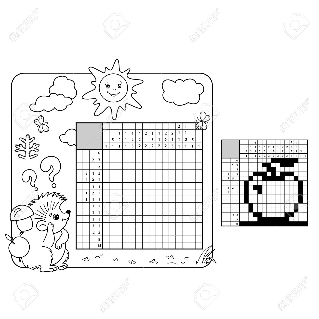 Education Puzzle Game For School Children Apple Black And White Japanese Crossword With Answer