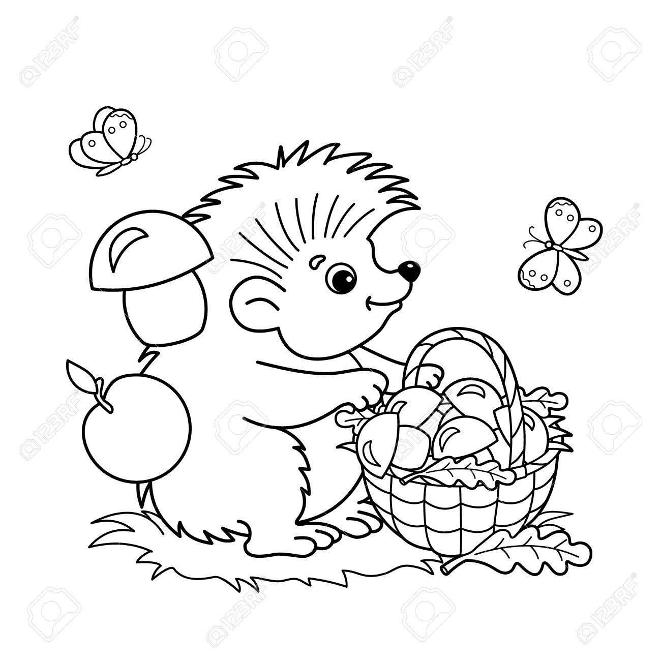 dibujo para colorear esquema de dibujos animados erizo con cesta de setas en el prado con