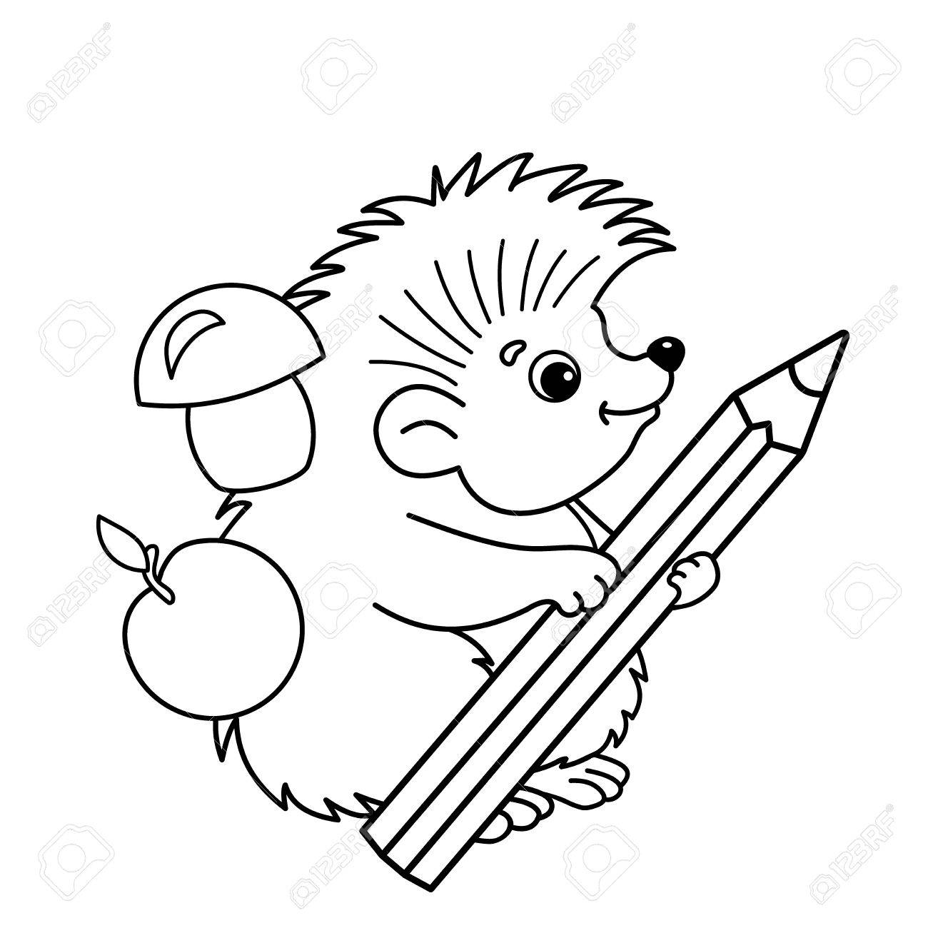 Coloring Page Outline Of Cartoon Hedgehog With Pencil Book For Kids Stock Vector