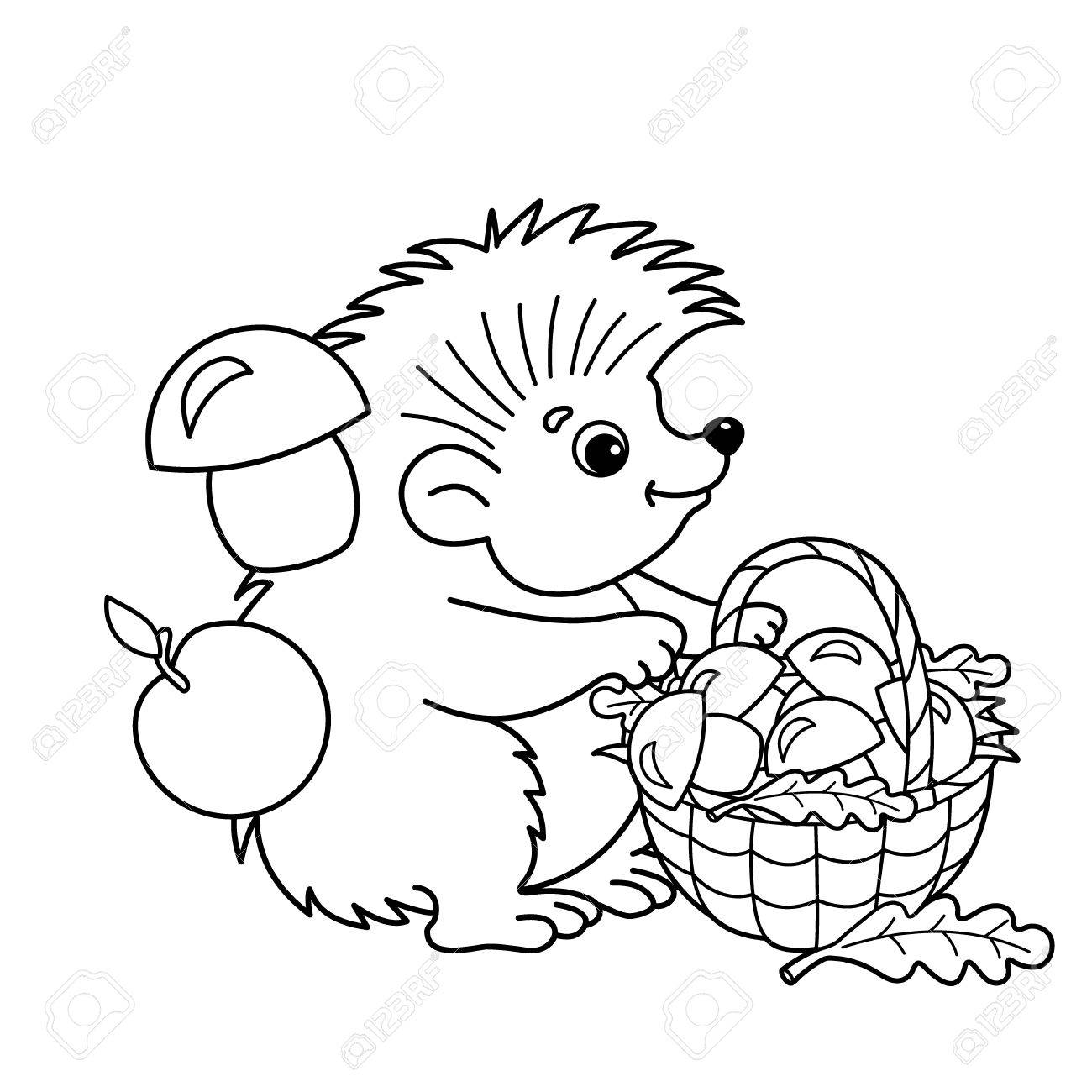 Coloring Page Outline Of Cartoon Hedgehog With Basket Of Mushrooms ...