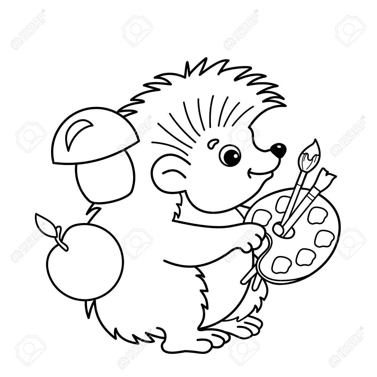 Página para colorear Esquema de erizo de la historieta con pinceles y pinturas. Libro de colorear para niños