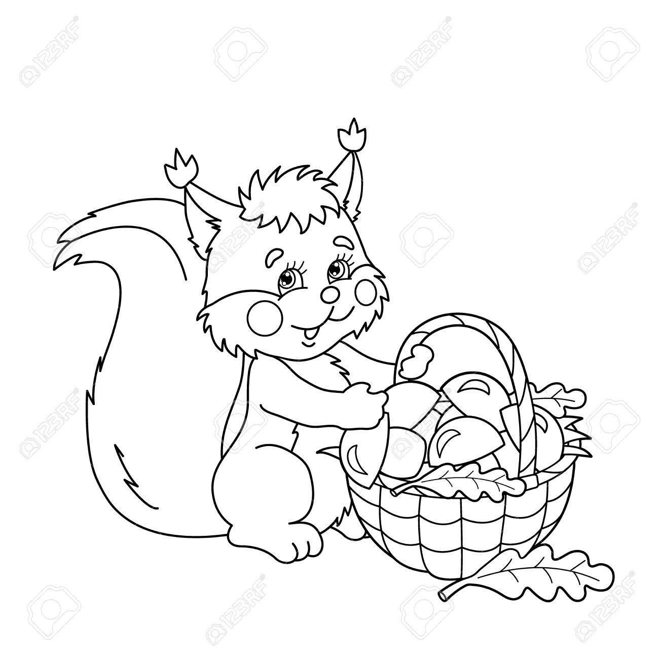 Coloring Page Outline Of Cartoon Squirrel With Basket Of Mushrooms ...