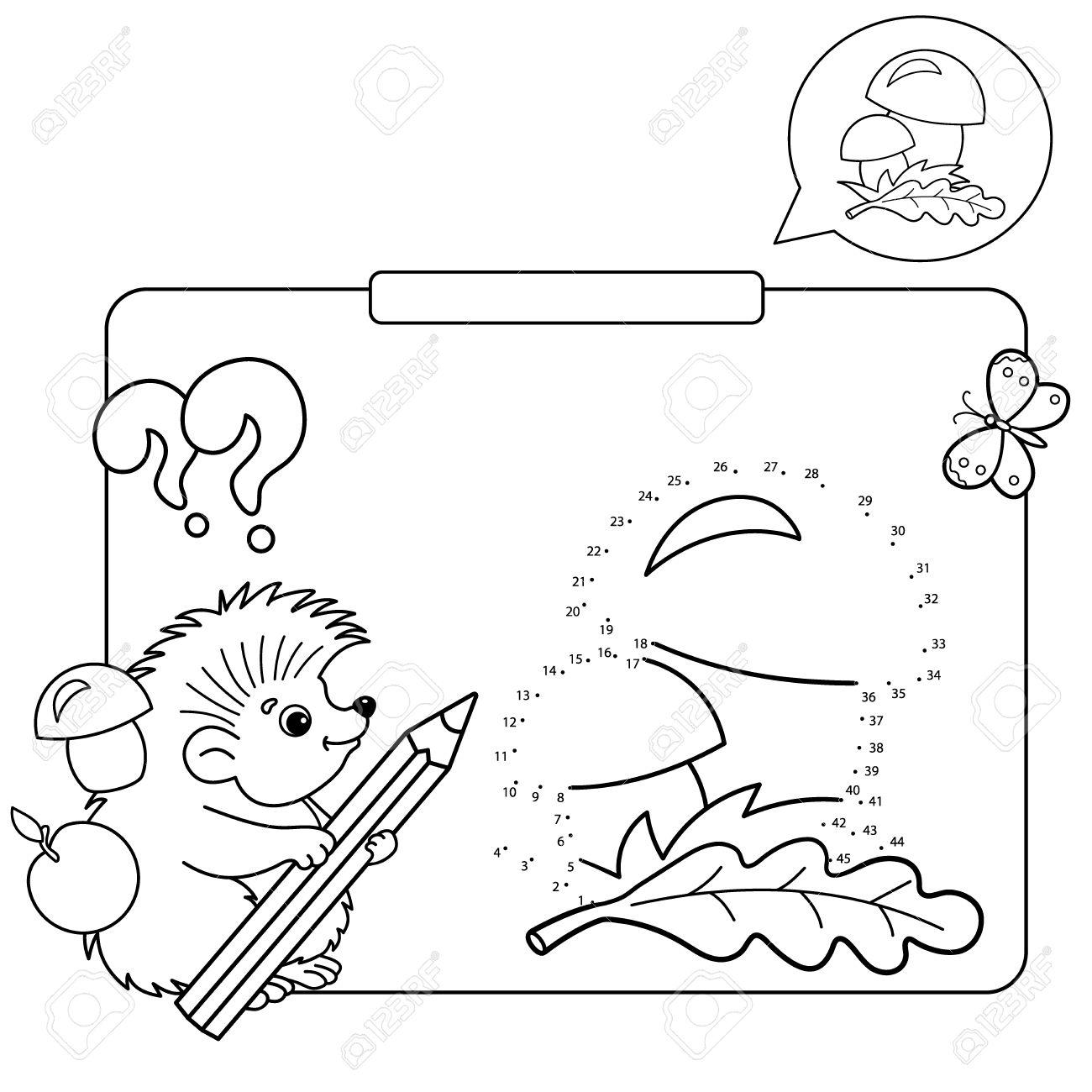 Juegos Educativos Para Niños Juego De Números Hongos Dibujo Para Colorear Contorno De Erizo Con Lápiz Libro Para Colorear Para Niños