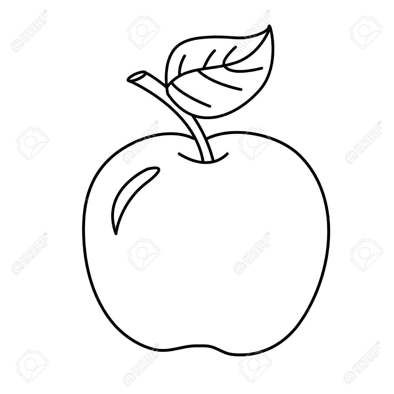 Página Para Colorear Esquema De Manzana De La Historieta. Frutas ...