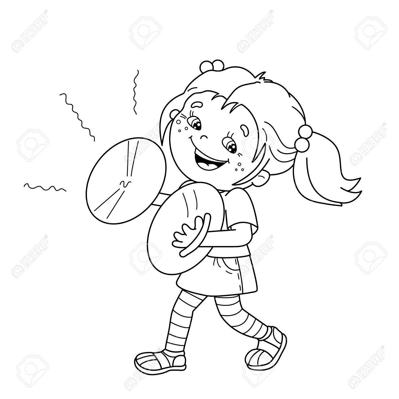 Página Para Colorear Esquema De Dibujos Animados Chica Tocando Los Platillos Instrumentos Musicales Libro De Colorear Para Niños