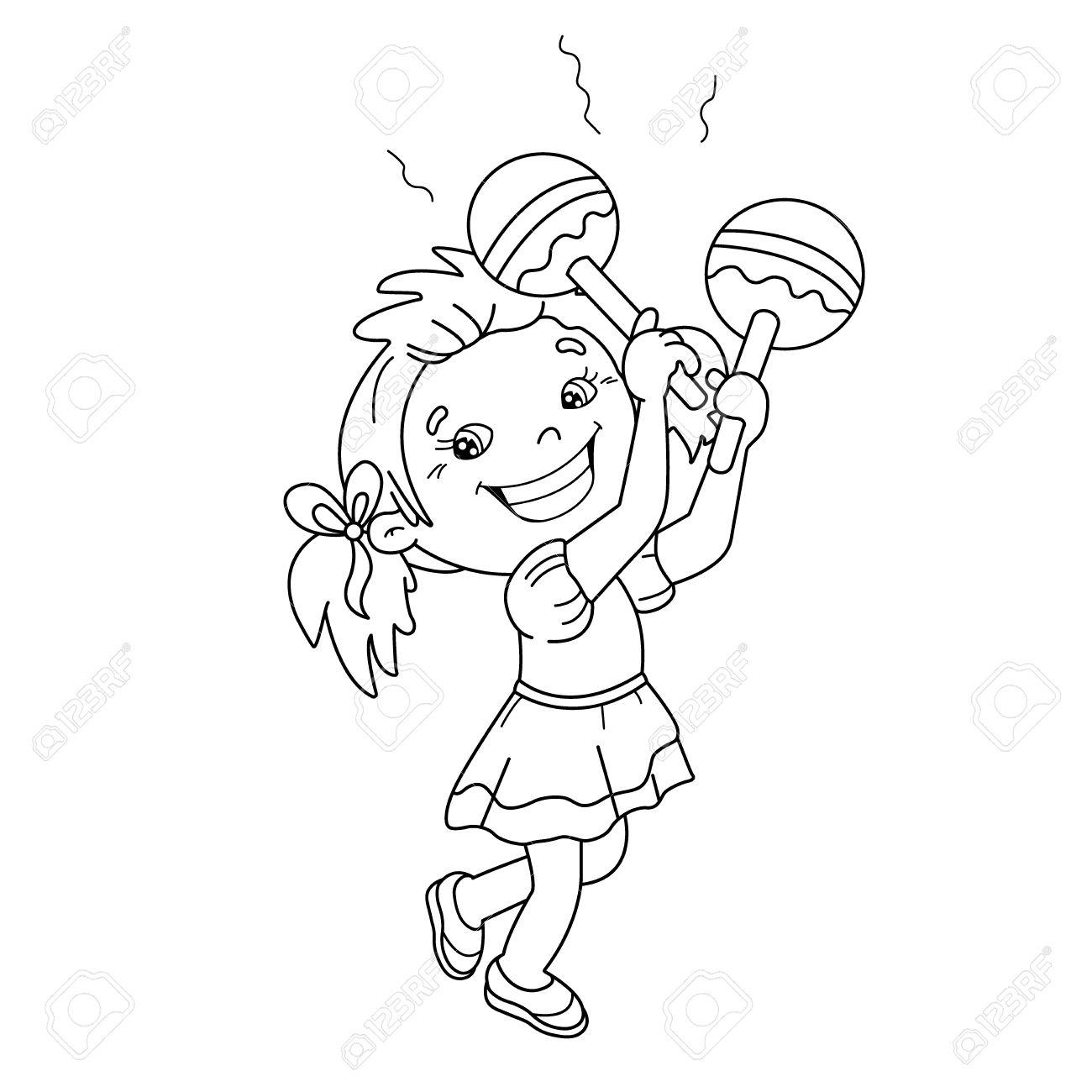Página Para Colorear Esquema De Dibujos Animados Chica Tocando Las Maracas
