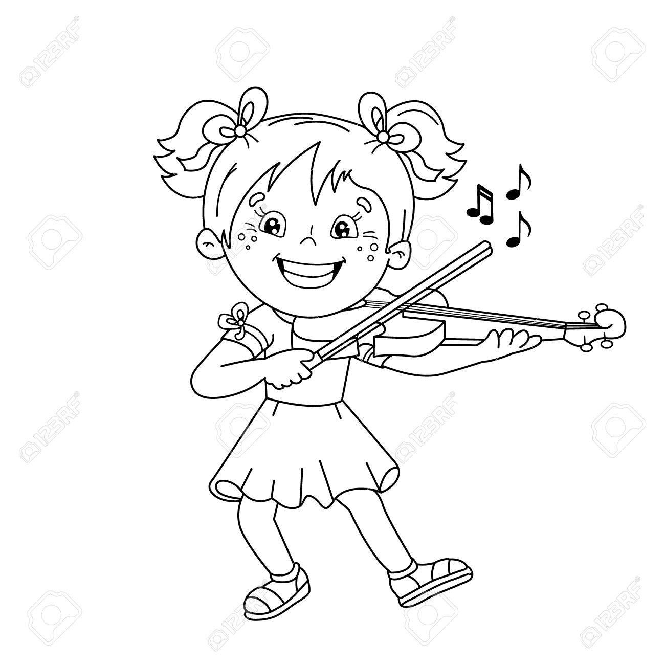 Página Para Colorear Esquema De Dibujos Animados Chica Tocando El Violín Instrumentos Musicales Libro De Colorear Para Niños