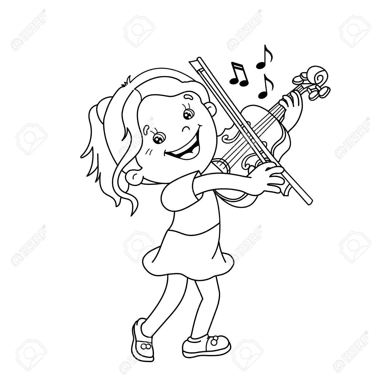 Página Para Colorear Esquema De Dibujos Animados Chica Tocando El ...