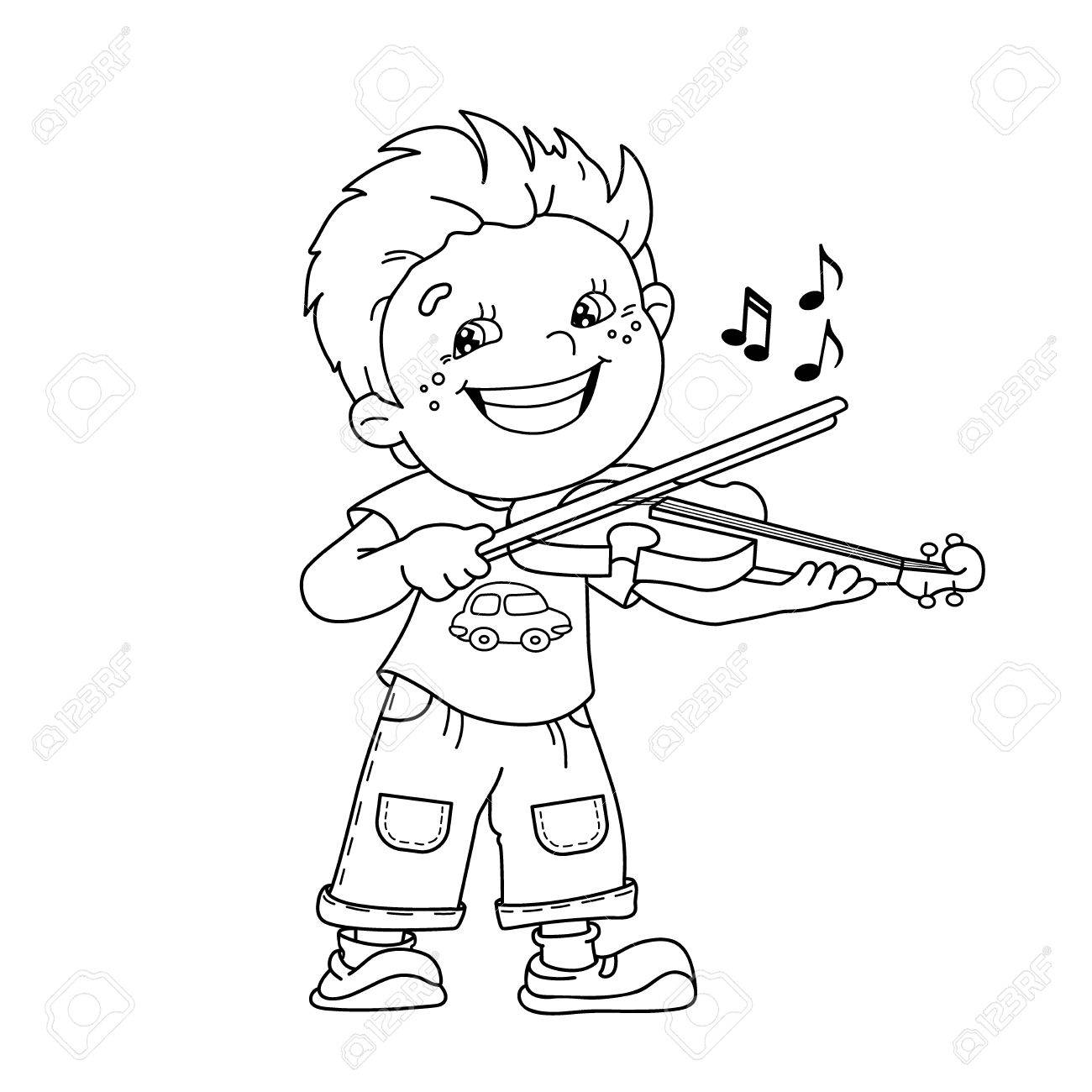 Coloring Page Outline Of Cartoon Boy Playing The Violin. Musical ...