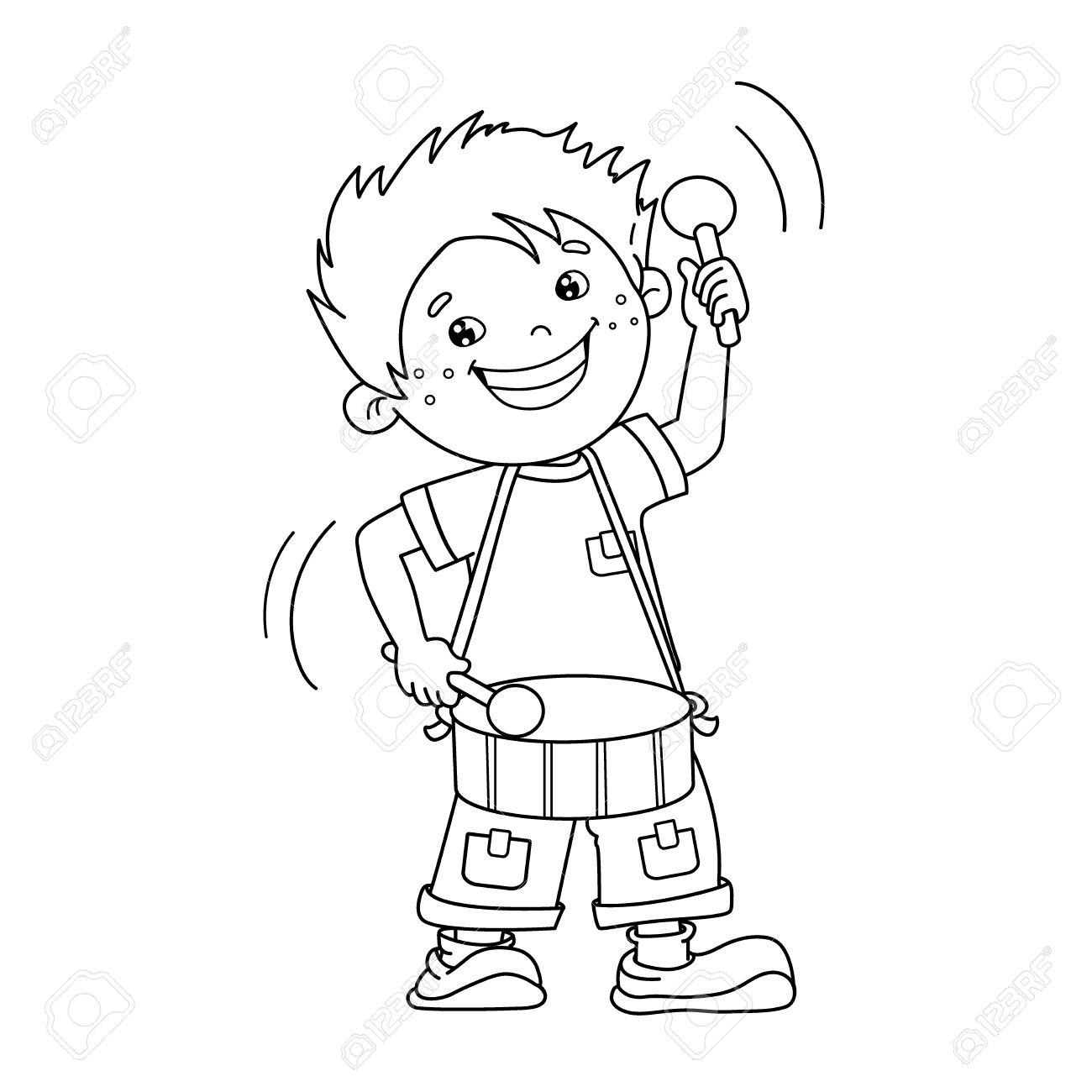 Página Para Colorear Esquema De Niño De Dibujos Animados Tocando El Tambor Instrumentos Musicales Libro De Colorear Para Niños