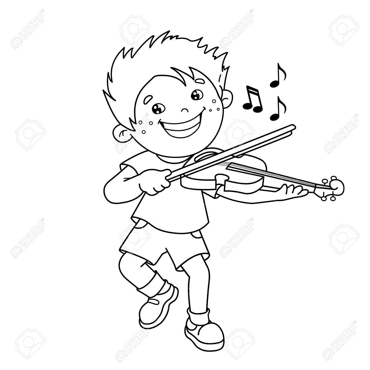 Página Para Colorear Esquema De Niño De Dibujos Animados Tocando El Violín Instrumentos Musicales Libro De Colorear Para Niños