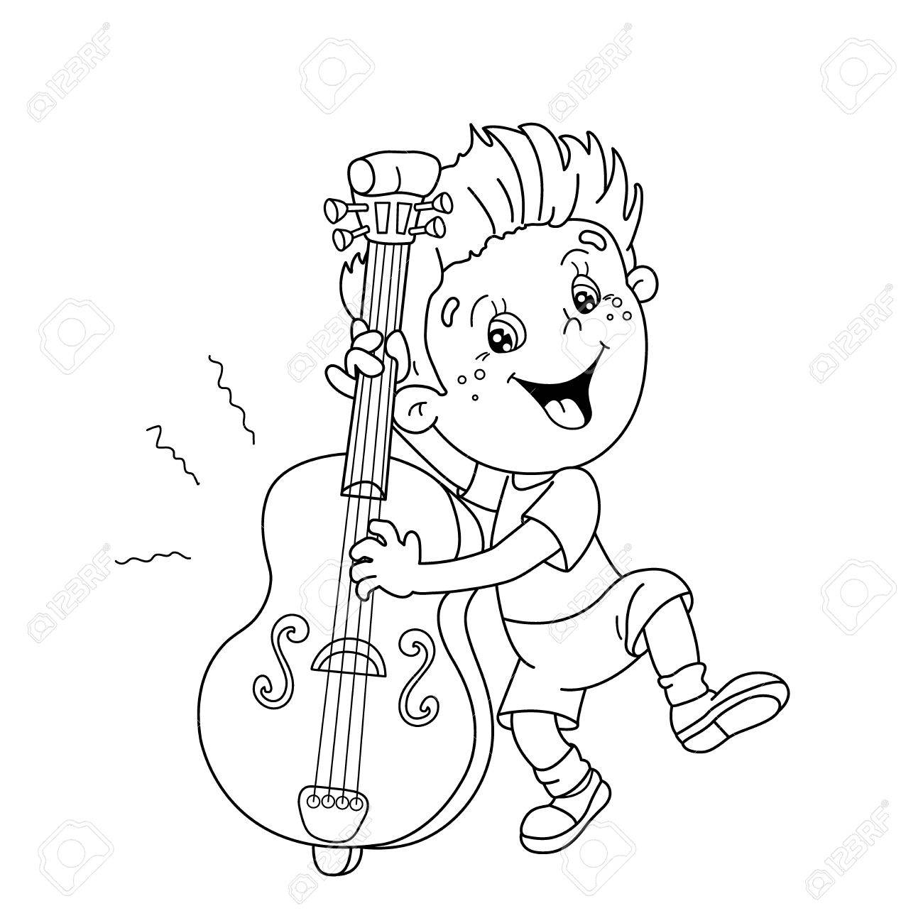 Coloring Page Outline Of Cartoon Boy Playing The Cello Musical