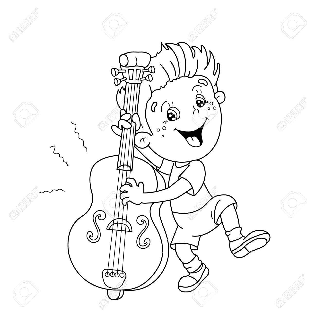 Página Para Colorear Esquema De Niño De Dibujos Animados A Tocar El Violonchelo Instrumentos Musicales Libro De Colorear Para Niños