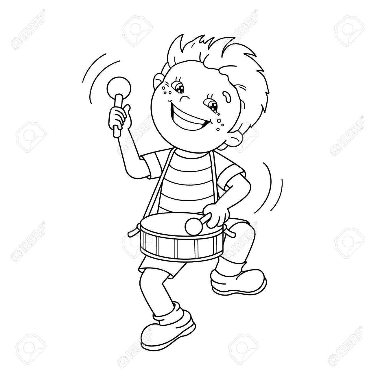 Coloring Page Outline Of Cartoon Boy Playing The Drum Musical